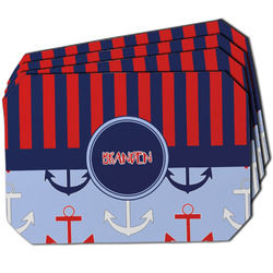 Classic Anchor & Stripes Dining Table Mat - Octagon w/ Name or Text