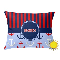 Classic Anchor & Stripes Outdoor Throw Pillow (Rectangular) (Personalized)