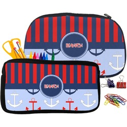 Classic Anchor & Stripes Pencil / School Supplies Bag (Personalized)