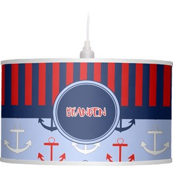 Classic Anchor & Stripes Drum Pendant Lamp (Personalized)