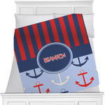 Classic Anchor & Stripes Minky Blanket (Personalized)