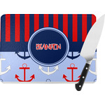 Classic Anchor & Stripes Rectangular Glass Cutting Board (Personalized)