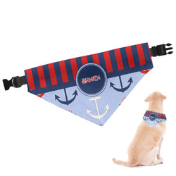 Classic Anchor & Stripes Dog Bandana - Large (Personalized)