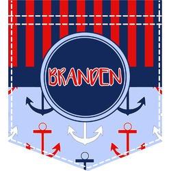 Classic Anchor & Stripes Iron On Faux Pocket (Personalized)