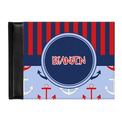 Classic Anchor & Stripes Genuine Leather Guest Book (Personalized)