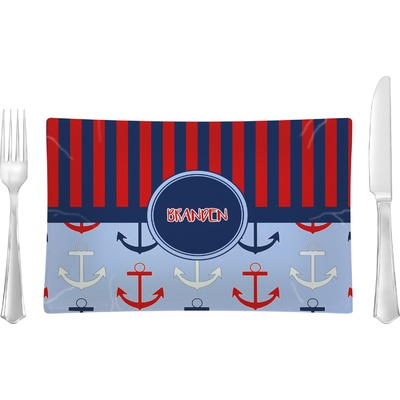 Classic Anchor & Stripes Rectangular Glass Lunch / Dinner Plate - Single or Set (Personalized)