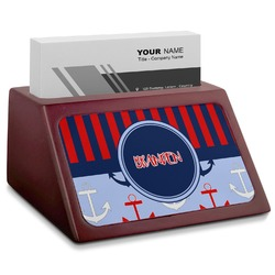 Classic Anchor & Stripes Red Mahogany Business Card Holder (Personalized)