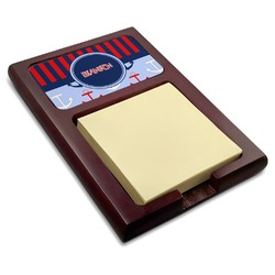 Classic Anchor & Stripes Red Mahogany Sticky Note Holder (Personalized)
