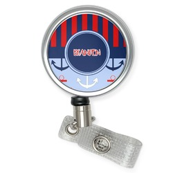Classic Anchor & Stripes Retractable Badge Reel (Personalized)