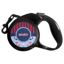 Classic Anchor & Stripes Retractable Dog Leash - Multiple Sizes (Personalized)