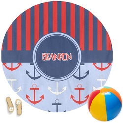 Classic Anchor & Stripes Round Beach Towel (Personalized)