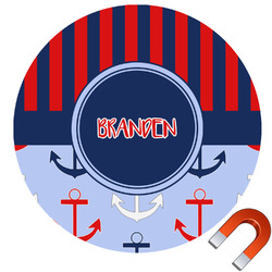 Classic Anchor & Stripes Round Car Magnet (Personalized)