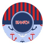 Classic Anchor & Stripes Round Decal (Personalized)