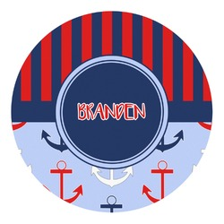 Classic Anchor & Stripes Round Decal - Custom Size (Personalized)
