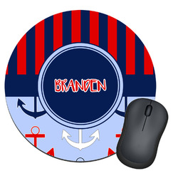 Classic Anchor & Stripes Round Mouse Pad (Personalized)