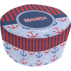 Classic Anchor & Stripes Round Pouf Ottoman (Personalized)