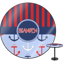Classic Anchor & Stripes Round Table (Personalized)