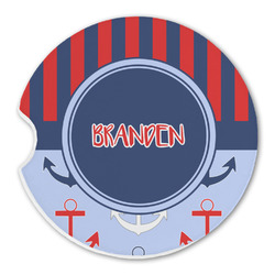 Classic Anchor & Stripes Sandstone Car Coasters (Personalized)