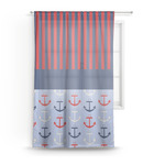 Classic Anchor & Stripes Sheer Curtains (Personalized)