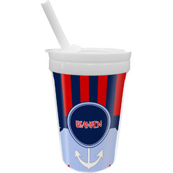 Classic Anchor & Stripes Sippy Cup with Straw (Personalized)