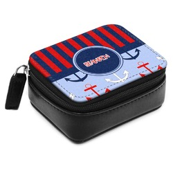 Classic Anchor & Stripes Small Leatherette Travel Pill Case (Personalized)
