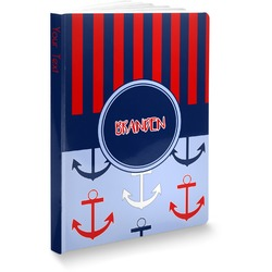 Classic Anchor & Stripes Softbound Notebook (Personalized)