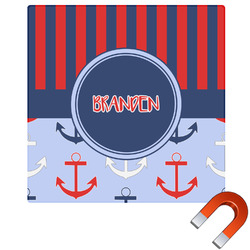 Classic Anchor & Stripes Square Car Magnet (Personalized)