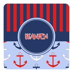 Classic Anchor & Stripes Square Decal - Custom Size (Personalized)