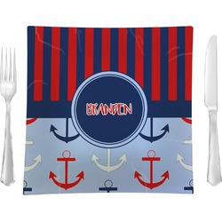 """Classic Anchor & Stripes Glass Square Lunch / Dinner Plate 9.5"""" - Single or Set of 4 (Personalized)"""