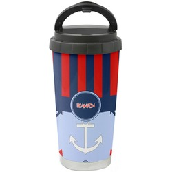 Classic Anchor & Stripes Stainless Steel Travel Mug (Personalized)