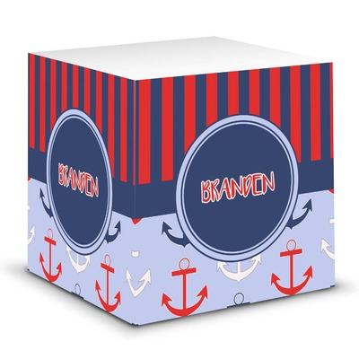 Classic Anchor & Stripes Sticky Note Cube (Personalized)
