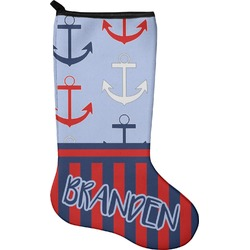 Classic Anchor & Stripes Christmas Stocking - Neoprene (Personalized)