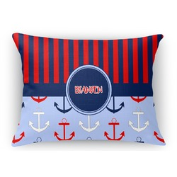 "Classic Anchor & Stripes Rectangular Throw Pillow Case - 12""x18"" (Personalized)"