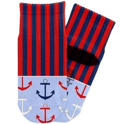 Classic Anchor & Stripes Toddler Ankle Socks (Personalized)