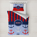 Classic Anchor & Stripes Toddler Bedding w/ Name or Text
