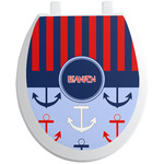Classic Anchor & Stripes Toilet Seat Decal (Personalized)