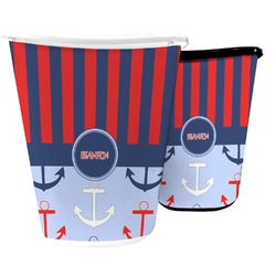 Classic Anchor & Stripes Waste Basket (Personalized)