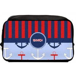 Classic Anchor & Stripes Toiletry Bag / Dopp Kit (Personalized)