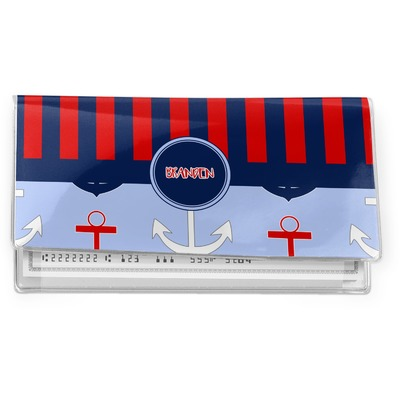 Classic Anchor & Stripes Vinyl Checkbook Cover (Personalized)