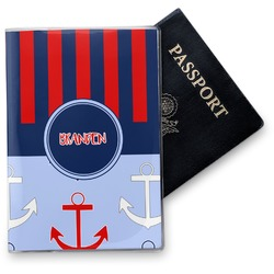 Classic Anchor & Stripes Vinyl Passport Holder (Personalized)