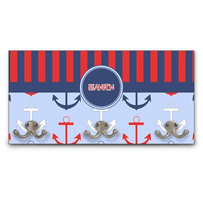 Classic Anchor & Stripes Wall Mounted Coat Rack (Personalized)