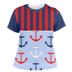 Classic Anchor & Stripes Women's Crew T-Shirt (Personalized)