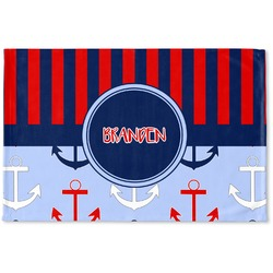 Classic Anchor & Stripes Woven Mat (Personalized)