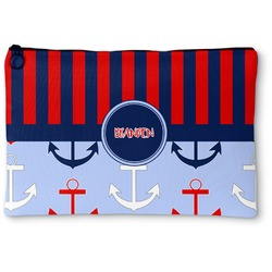 Classic Anchor & Stripes Zipper Pouch (Personalized)