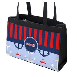 Classic Anchor & Stripes Zippered Everyday Tote (Personalized)