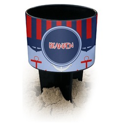 Classic Anchor & Stripes Black Beach Spiker Drink Holder (Personalized)