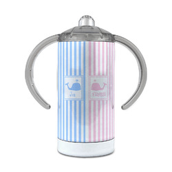 Striped w/ Whales 12 oz Stainless Steel Sippy Cup (Personalized)