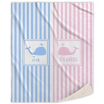 Striped w/ Whales Sherpa Throw Blanket (Personalized)