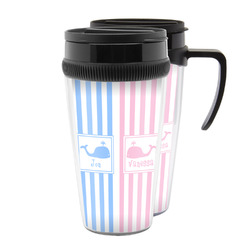 Striped w/ Whales Acrylic Travel Mugs (Personalized)