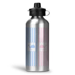 Striped w/ Whales Water Bottle - Aluminum - 20 oz (Personalized)